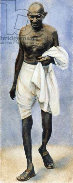 MOHANDAS GANDHI (1869-1948) Indian nationalist and spiritual leader. Oil over a photograph.
