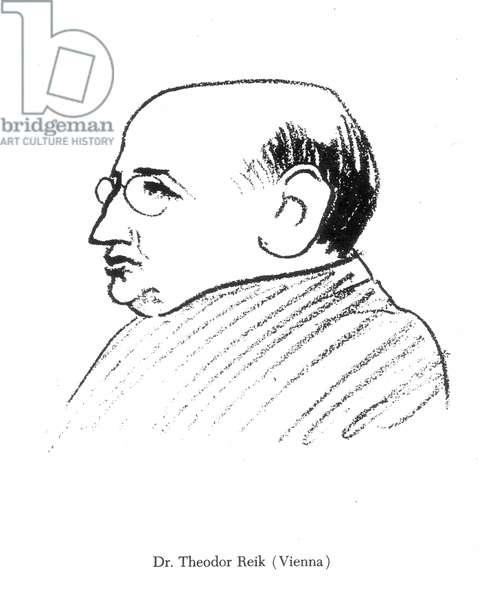 THEODOR REIK (1888-1969) Austrian psychoanalyst. Caricature drawn by Robert Bereny at the Eighth International Psychoanalytical Congress at Salzburg, Austria, in April 1924.