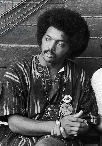JESSE JACKSON (1941- ) American civil rights leader. Jackson at the Watts Summer Festival at the Los Angeles Coliseum, 20 August 1972. Photograph by Lester Sloan.