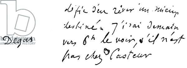EDGAR DEGAS (1834-1917) French painter. Autograph signature.