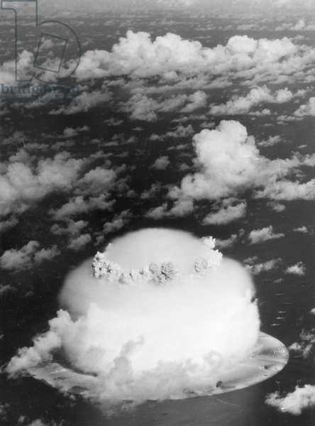 ATOMIC BOMB TEST, 1946. American atomic bomb test at Bikini Atoll in the Pacific Ocean. Photograph, July 1946.