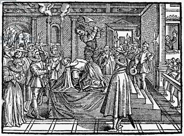 MARY, QUEEN OF SCOTS (1542-1587). Mary Stuart, Queen of Scotland, 1542-1567. The execution of Mary at Fotheringhay Castle on 8 February 1587. Woodcut from Adam Blackwood's 'La Mort de La Royne D'Ecosse,' Paris, France, 1589.