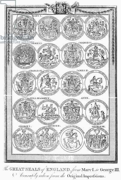 ENGLAND: ROYAL SEALS Royal seals of the English monarchs, from Mary I to George III. Line engraving, c.1800.