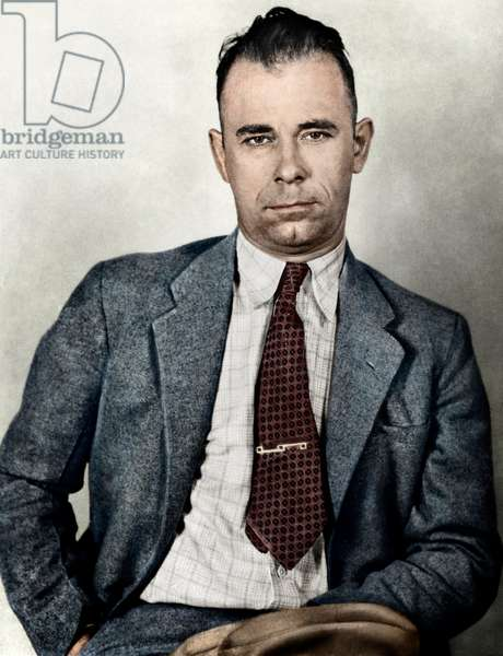 JOHN DILLINGER (1903-1934) American bank robber. Photographed in 1933, digitally coloured  by Granger, NYC.
