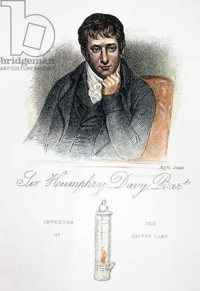 SIR HUMPHRY DAVY (1778-1829) English chemist. Davy with the miner's safety lamp he invented in 1815. Stipple engraving, 19th century.