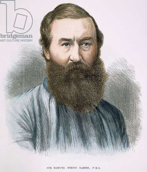 SIR SAMUEL WHITE BAKER (1821-1893). English explorer: wood engraving, 1873.