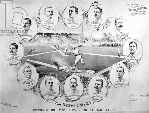 BASEBALL, 1895 Portraits of the captains of the twelve baseball clubs in the National League, 1895.