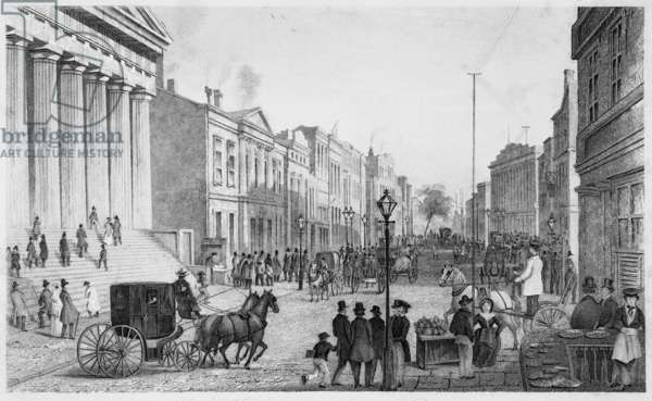 WALL STREET, NEW YORK CITY Seen from the corner of Broad Street. Steel engraving, mid-19th century.