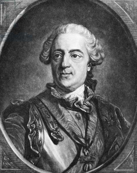 LOUIS XV (1710-1774) King of France, 1715-1774. Mezzotint, 18th century, after a painting by Louis Michel Van Loo.