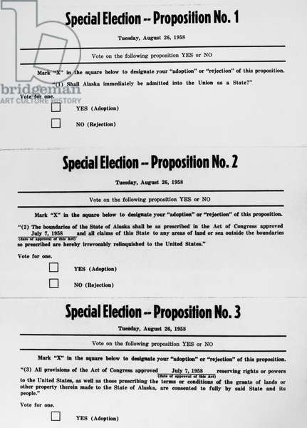 ALASKA: STATEHOOD, 1958 Ballot for the special public election, 26 August 1958, to approve the statehood of Alaska.