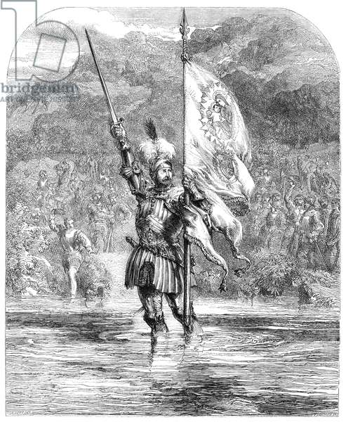 VASCO NUNEZ de BALBOA (1475-1519). Spanish explorer. Balboa taking possession of the Pacific in the name of the King and Queen of Castile in 1513. Line engraving, English, 19th century.