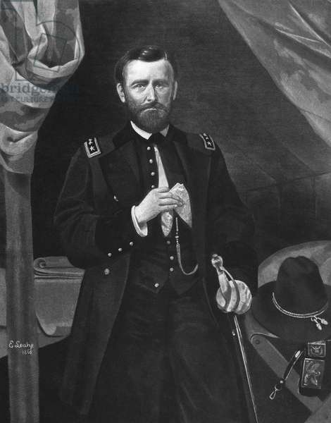 ULYSSES S. GRANT (1822-1885) 18th President of the United States. 'General Grant, In His Tent.' Mezzotint after a painting, 1866, by Emanuel Leutze.