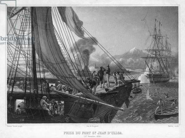 PASTRY WAR, 1838 The capture of Fort San Juan de Ulua at Veracruz, Mexico, during the Pastry War between France and Mexico in 1838. Engraving after a painting by Horace Vernet, 1841.