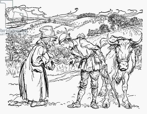 JACK AND THE BEANSTALK Jack trading his mother's cow for a handful of magic beans. Illustration by Arthur Rackham for a 1918 edition of the traditional English fairy tale.