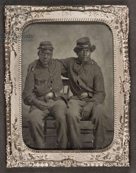 CIVIL WAR: SOLDIER, c.1865 Portrait of African American soldiers in Union uniforms. Tintype, c.1865.