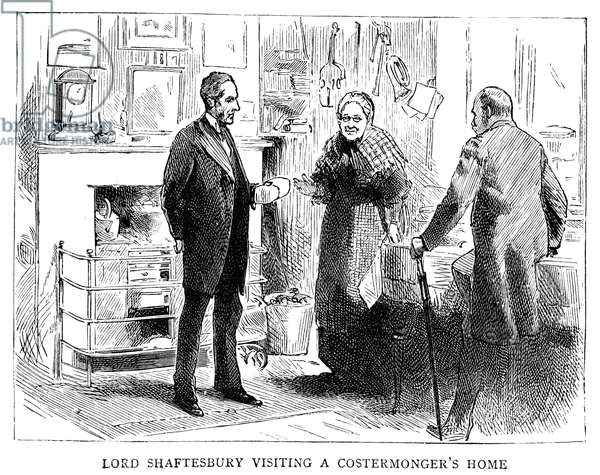 EARL OF SHAFTESBURY (1801-1885). Anthony Ashley-Cooper, 7th Earl of Shaftesbury. English politician, reformer, and philanthropist. Lord Shaftesbury visiting a fruit vendor's home. Wood engraving from an illustrated biography published in 'The Graphic' after his death, 1885.