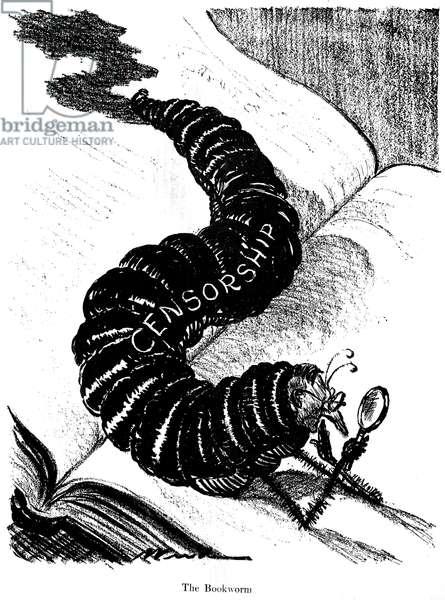 CENSORSHIP CARTOON, 1925 'The Bookworm.' Cartoon, American, c.1925.