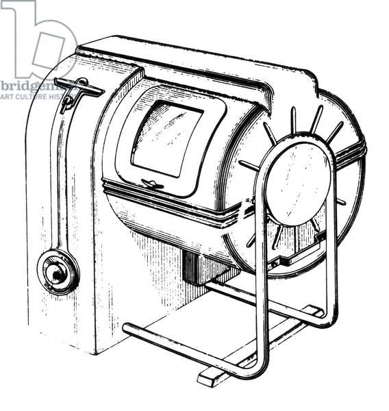 WASHING MACHINE, 1939 Washing machine cabinet, patented in 1939 by Hyman D. Brotman of Detroit, Michigan. Line engraving.