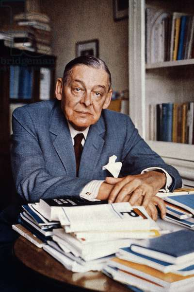 T.S. ELIOT (1888-1965) Thomas Stearns Eliot. American (naturalized British) poet and critic. Photographed by Ida Kar, c.1959.