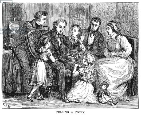 HANS CHRISTIAN ANDERSEN (1805-1875). Danish writer. Andersen telling a story to children. Wood engraving, American, 1875, after Charles Stanley Reinhart.