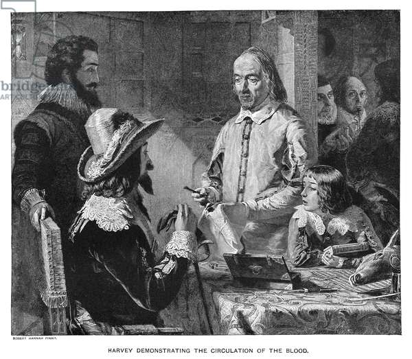 WILLIAM HARVEY (1578-1657) English anatomist and physician. Harvey demonstrating the circulation of the blood to King Charles I and the future King Charles II, using the heart of a dissected deer. Steel engraving, English, 1851, after a painting, 1848, by Robert Hannah.