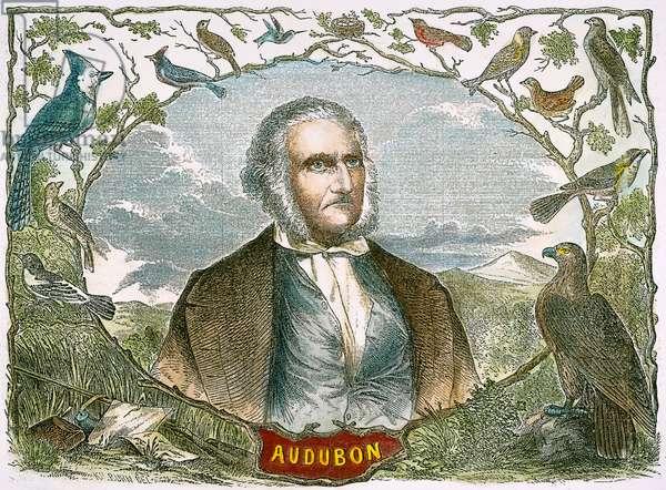 JOHN JAMES AUDUBON (1785-1851). American ornithologist and artist. Wood engraving, American, 1854.