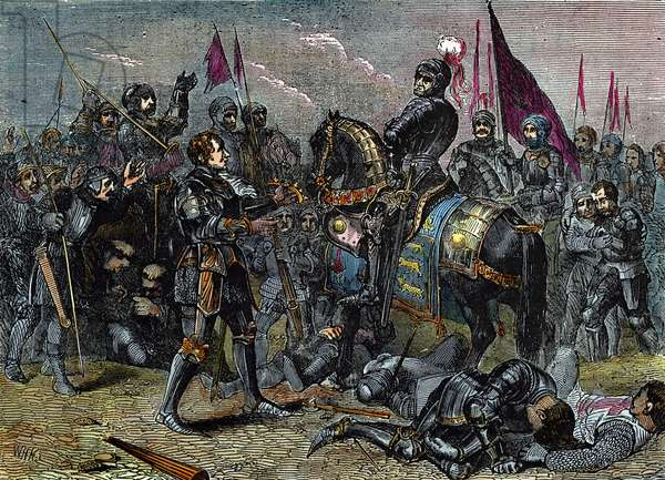 BOSWORTH FIELD, 1485 Lord Stanley giving the crown of the defeated Richard III to the victorious Earl of Richmond, who thereby began his reign as King Henry VII, at the Battle of Bosworth Field, 22 August 1485. Wood engraving, 19th century.