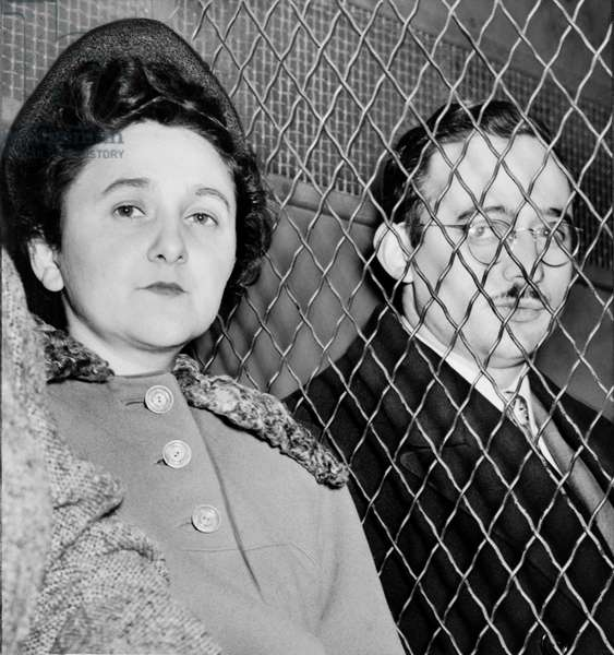 THE ROSENBERGS, 1951 Ethel and Julius Rosenberg in a patrol car following their conviction for atomic espionage, for which they were executed two years later. Photograph by Roger Higgins, 29 March 1951