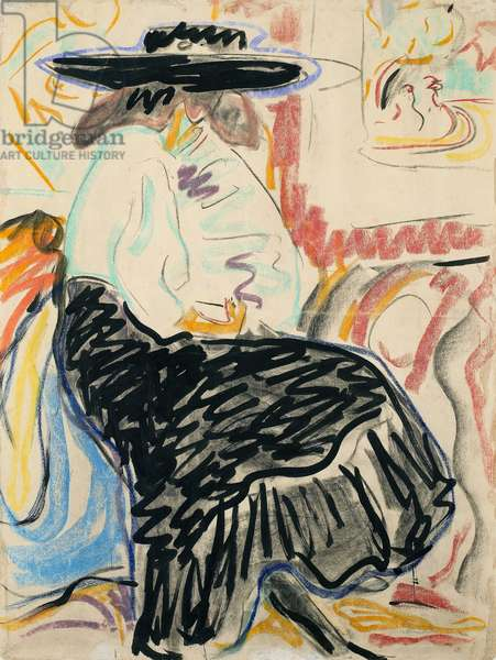 KIRCHNER: SEATED WOMAN 'Seated Woman in the Studio.' Pastel, brush and ink, Ernst Ludwig Kirchner, 1909.