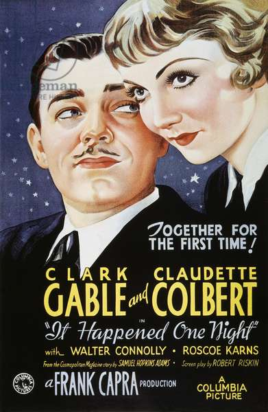 """IT HAPPENED ONE NIGHT 1934 Poster for the 1934 Columbia motion picture, """"It Happened One Night,"""" starring Clark Gable and Claudette Colbert."""