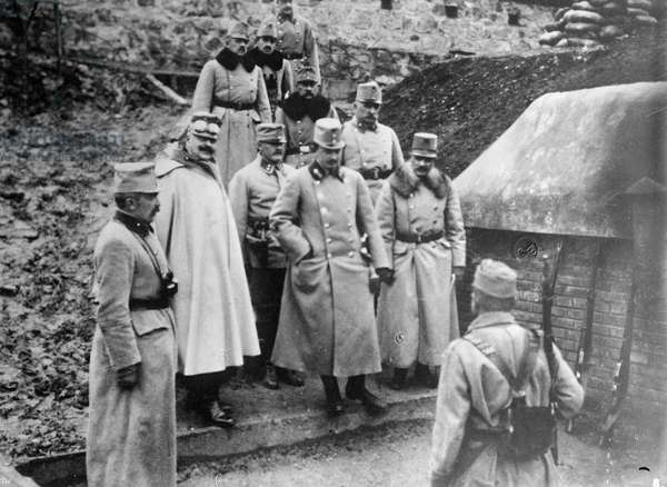 CHARLES I OF AUSTRIA (1887-1922). Emperor of Austria, King of Hungary, and King of Bohemia, 1916-1918. Visiting Przemysl Fortress in Przemysl, Austria-Hungary (now Poland). Photograph, 1914.