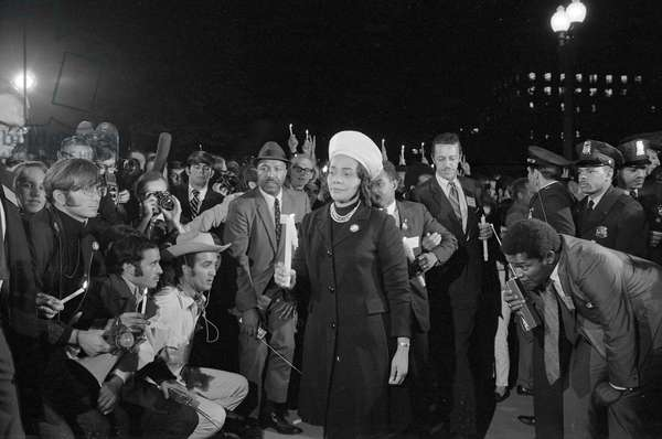 VIETNAM WAR PROTEST, 1969. Coretta Scott King leading a march to the White House as part of the Moratorium to End the War in Vietnam, 15 October 1969.
