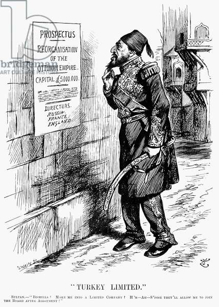TURKEY: TURKEY LIMITED An 1896 cartoon by Sir John Tenniel on a report that the Great Powers were considering a Turkish loan to be applied under European control.