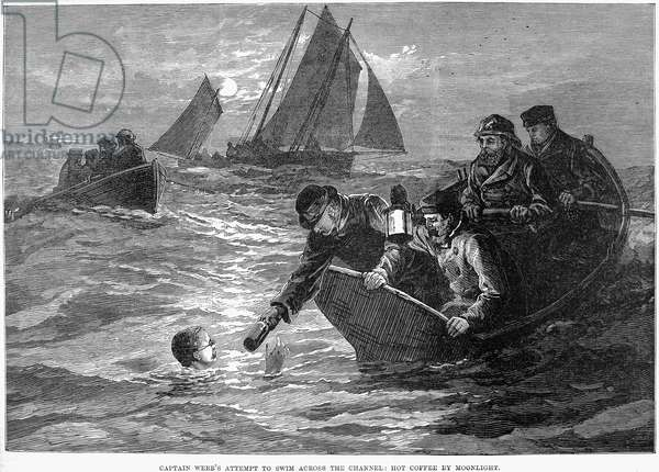 MATTHEW WEBB (1848-1883) English swimmer. Webb's first and unsuccessful attempt to swim the English Channel on 12 August 1875. 'Captain Webb's Attempt to Swim Across the Channel: Hot Coffee by Moonlight'. Line engraving from a contemporary English newspaper.