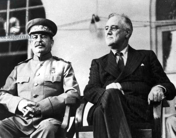 TEHRAN CONFERENCE, 1943 Soviet Premier Joseph Stalin and U.S. President Franklin D. Roosevelt photographed during the Tehran Conference, November 1943.