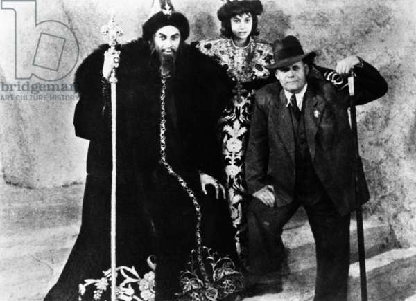 SERGEI EISENSTEIN (1898-1948). Russian film director. Photographed, right, during the filming of 'Ivan the Terrible' in the Soviet Union, c.1943. On the left is Nikolai Cherkasov in costume as Czar Ivan IV.