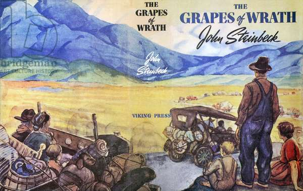 STEINBECK: GRAPES OF WRATH Wraparound jacket of the first edition, 1939, of 'The Grapes of Wrath', John Steinbeck's novel of 'Okies' forced to migrate from the Dust Bowl.