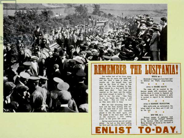 WORLD WAR I: LUSITANIA 'Remember the Lusitania.' British recruiting poster published following the sinking of the Lusitania, May 1915.