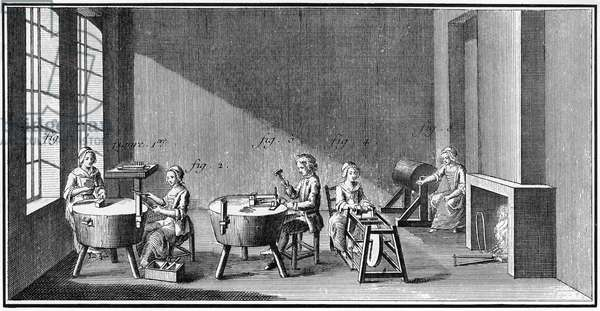 NEEDLEMAKING, 18TH CENTURY Men and women workers making knitting needles. Copper engraving from 'L'Encyclopedie' of Denis Diderot, 18th century.
