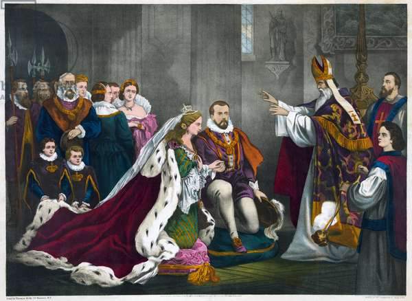 MARY, QUEEN OF SCOTS Wedding of Mary, Queen of Scots, and Henry Stuart, Lord Darnley, on 29 July 1565.