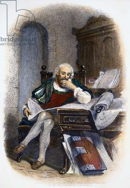 CHRISTOPHER COLUMBUS (1451-1506). Italian navigator. Columbus in his study. Steel bank note engraving, American, 1871.