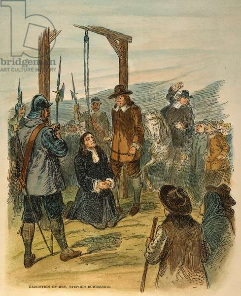 REV. STEPHEN BURROUGHS The execution of Reverend Stephen Burroughs for witchcraft at Salem, Massachusetts, in 1692: coloured  engraving, 19th century.