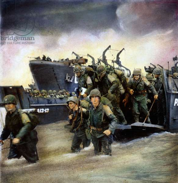 WORLD WAR II: D-DAY, 1944 American soldiers landing on the coast at Utah Beach during the invasion of Normandy, 6 June 1944. Oil over a photograph.