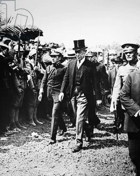 WOODROW WILSON, 1919 President Woodrow Wilson and Admiral Cary Grayson leaving graves of American heroes in France, on Decoration Day, 1919.