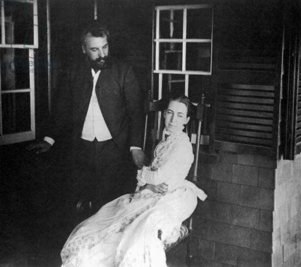 ALEXANDER GRAHAM BELL (1847-1922). American (Scottish-born) teacher and inventor. Photographed with his wife, Mabel Hubbard Bell, c.1880.