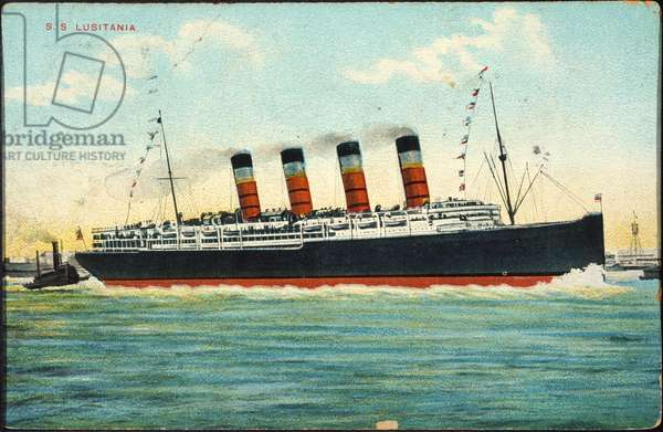 POSTCARD: LUSITANIA, 1915 The Cunard steamship Lusitania depicted on a German postcard several years before its sinking by German torpedoes on 7 May 1915.