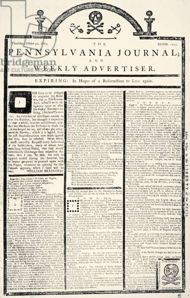 STAMP ACT, 1765 'Front page of 'The Pennsylvania Journal.' 31 October 1765, with articles and a cartoon attacking the Stamp Act.