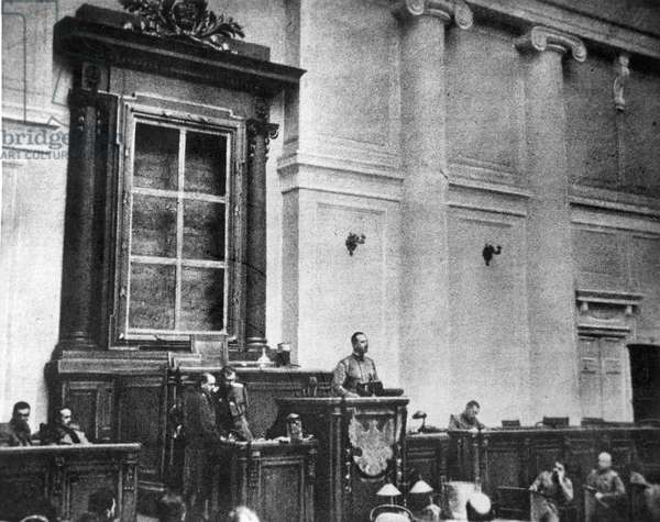 RUSSIA: REVOLUTION OF 1917 The first session of the Duma of the Provisional Government, March 1917. The empty frame behind the speaker's platform formerly held the Czar's portrait.