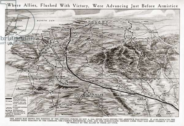 WORLD WAR I: MAP, 1918 Map showing the position of forces on 4 November 1918, seven days before the armistice was signed. The map also indicates the Hindenburg Line, the furthest point reached by the Germans.
