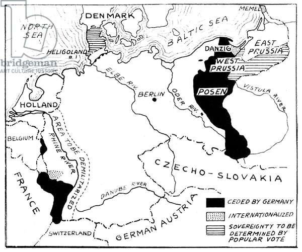 WORLD WAR I: MAP, 1919 Portions of territory proposed to be taken from Germany under the Treaty of Versailles. Map, 1919.
